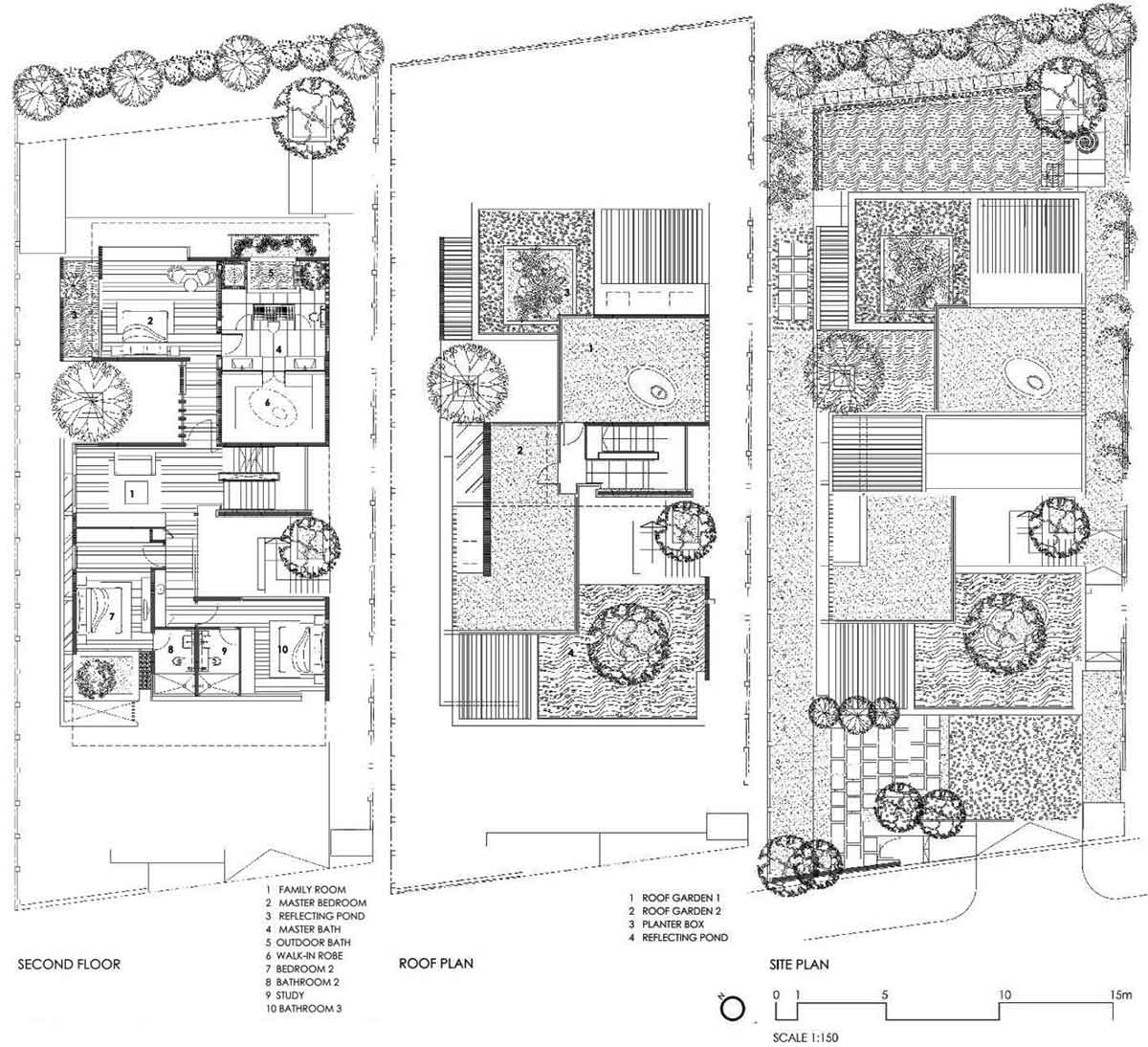 Second Floor, Roof & Site Plans, Sunset Vale House, Singapore by WOW Architects