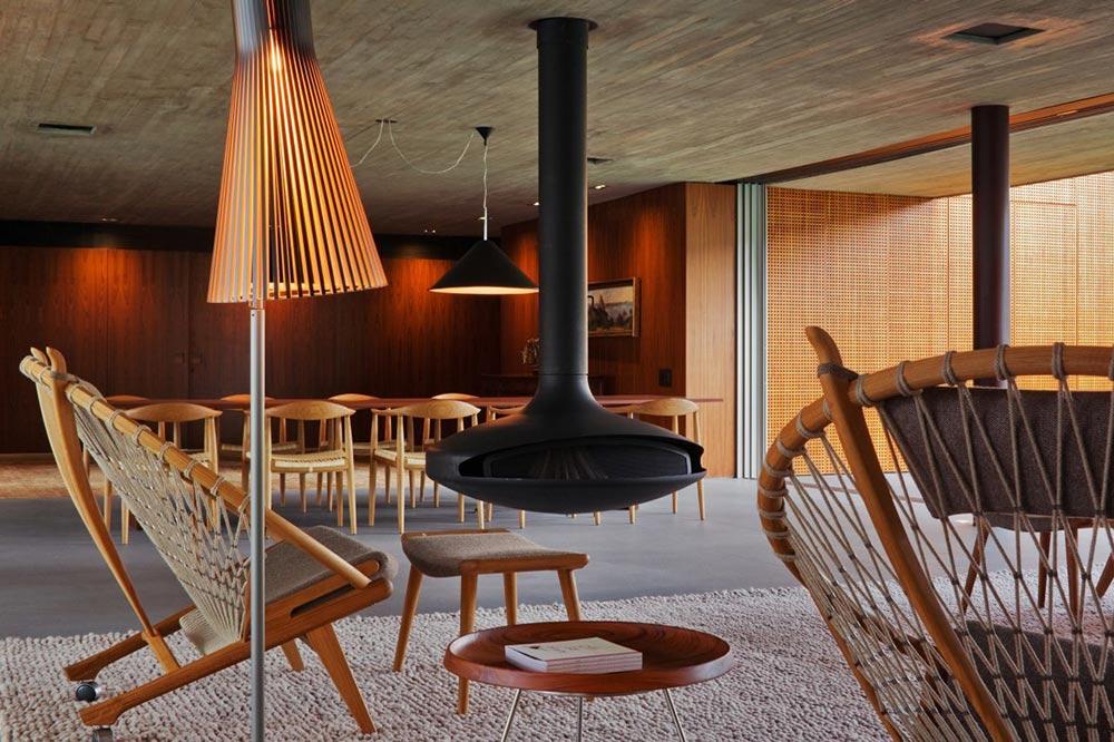 Contemporary Hanging Fireplace, V4 house, Sao Paulo, Brazil by Studio MK27
