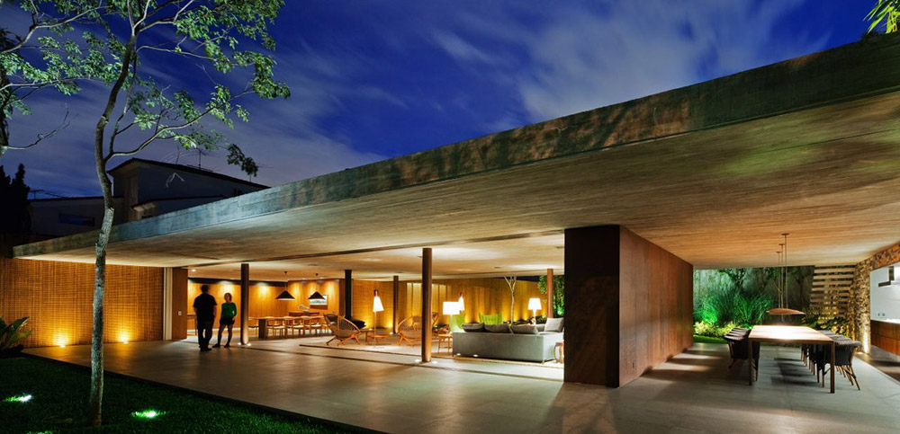 Evening, Dining, Living, V4 house, Sao Paulo, Brazil by Studio MK27
