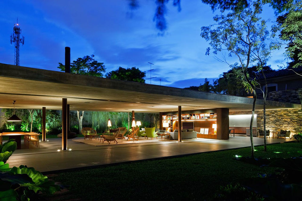 Evening, Living Space, V4 house, Sao Paulo, Brazil by Studio MK27