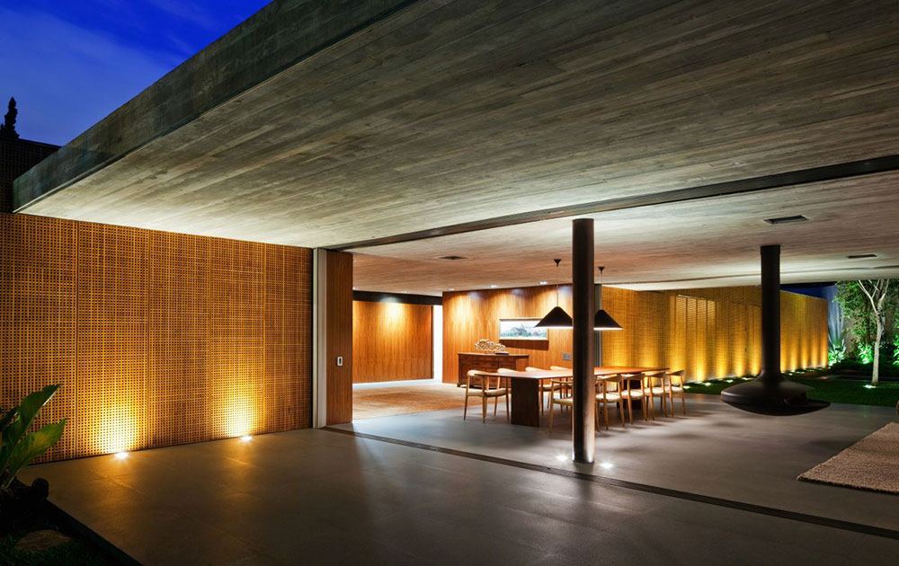 Open Plan, Contemporary Fireplace, V4 house, Sao Paulo, Brazil by Studio MK27