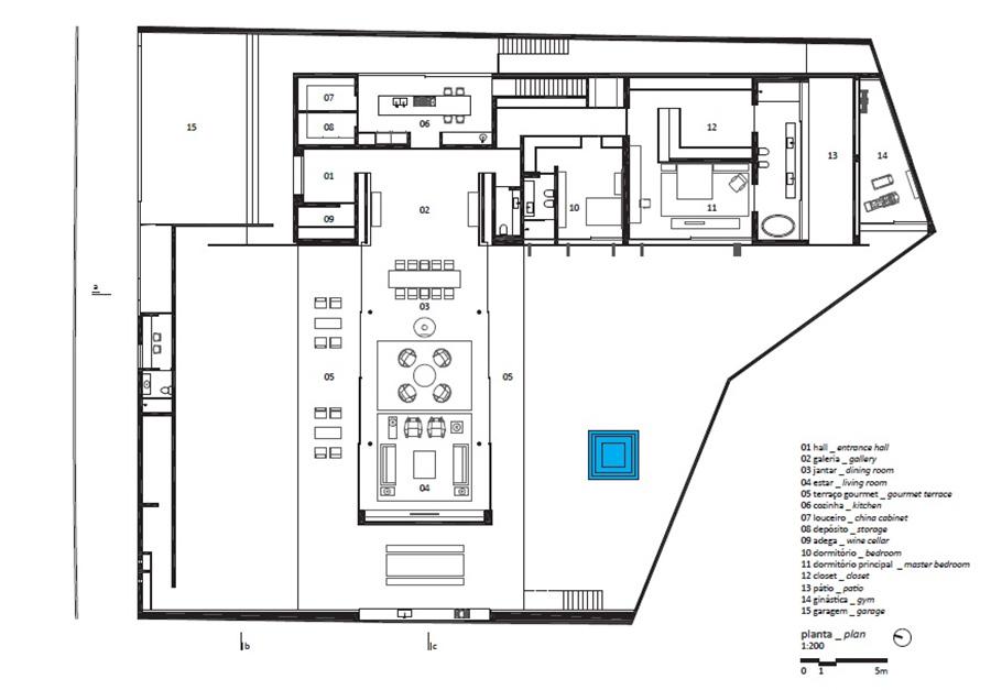 Plan, V4 house, Sao Paulo, Brazil by Studio MK27