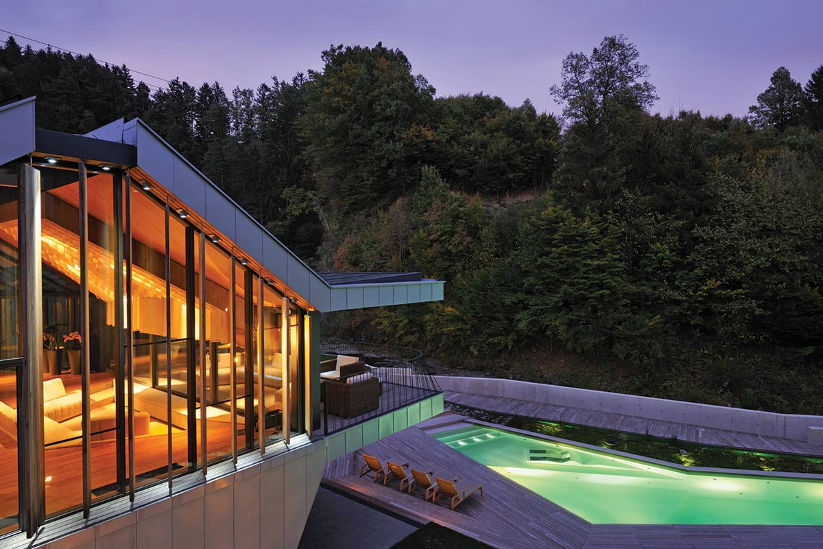 "Evening, Outdoor Pool, Lights, Villa ""On the deck into life"", Slovenia by Superform"