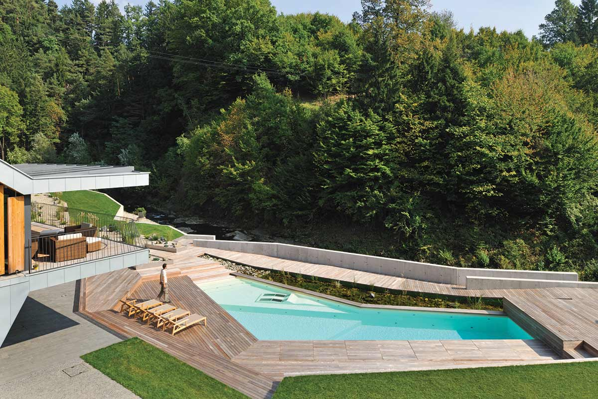 "Pool, Deck & Brook, Villa ""On the deck into life"", Slovenia by Superform"