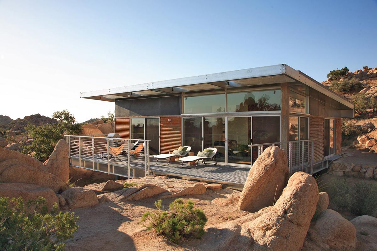 Deck, Rock Reach House, Mojave Desert, California, USA