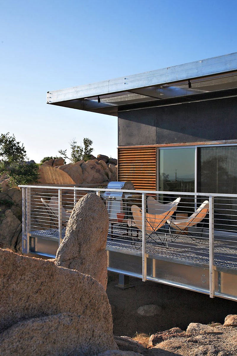 Deck, BBQ, Rock Reach House, Mojave Desert, California, USA