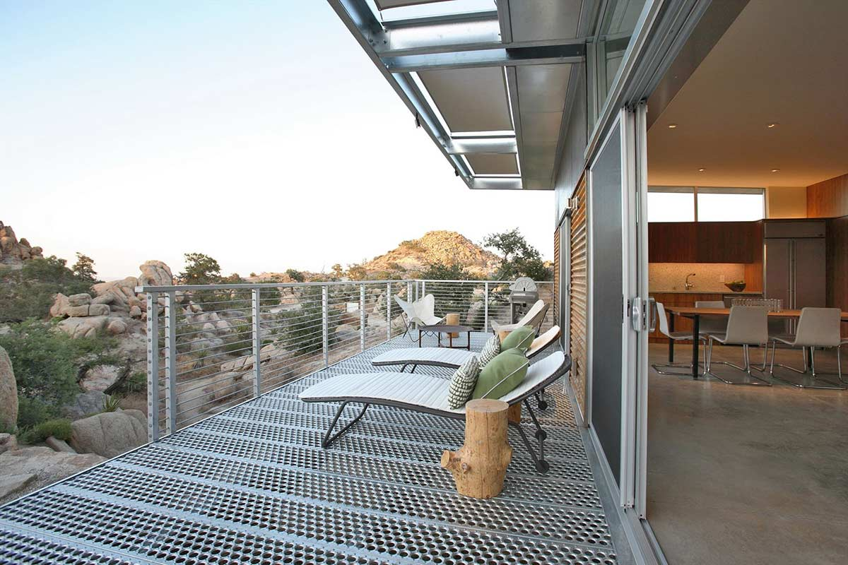 Deck, Loungers, Rock Reach House, Mojave Desert, California, USA