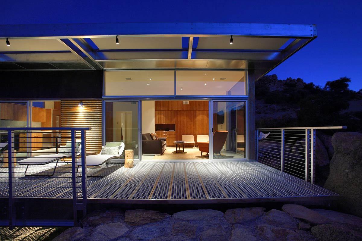Evening, Deck, Living Space, Rock Reach House, Mojave Desert, California, USA