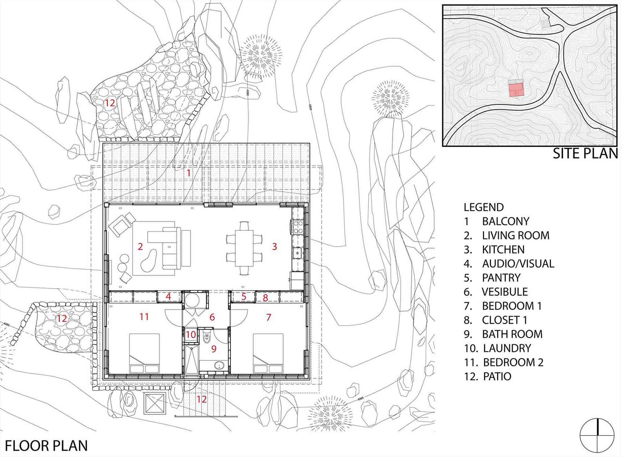 Floor Plan, Rock Reach House, Mojave Desert, California, USA