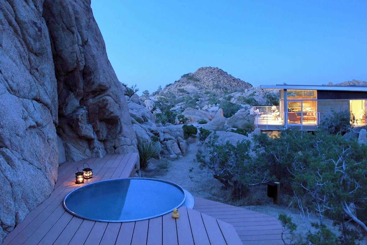 Evening, Jacuzzi, Rock Reach House, Mojave Desert, California, USA
