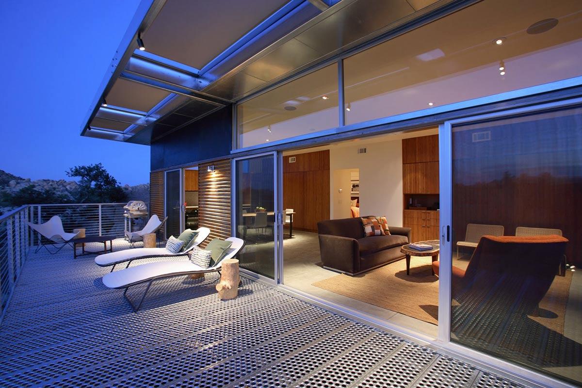 Patio Doors, Deck, Rock Reach House, Mojave Desert, California, USA