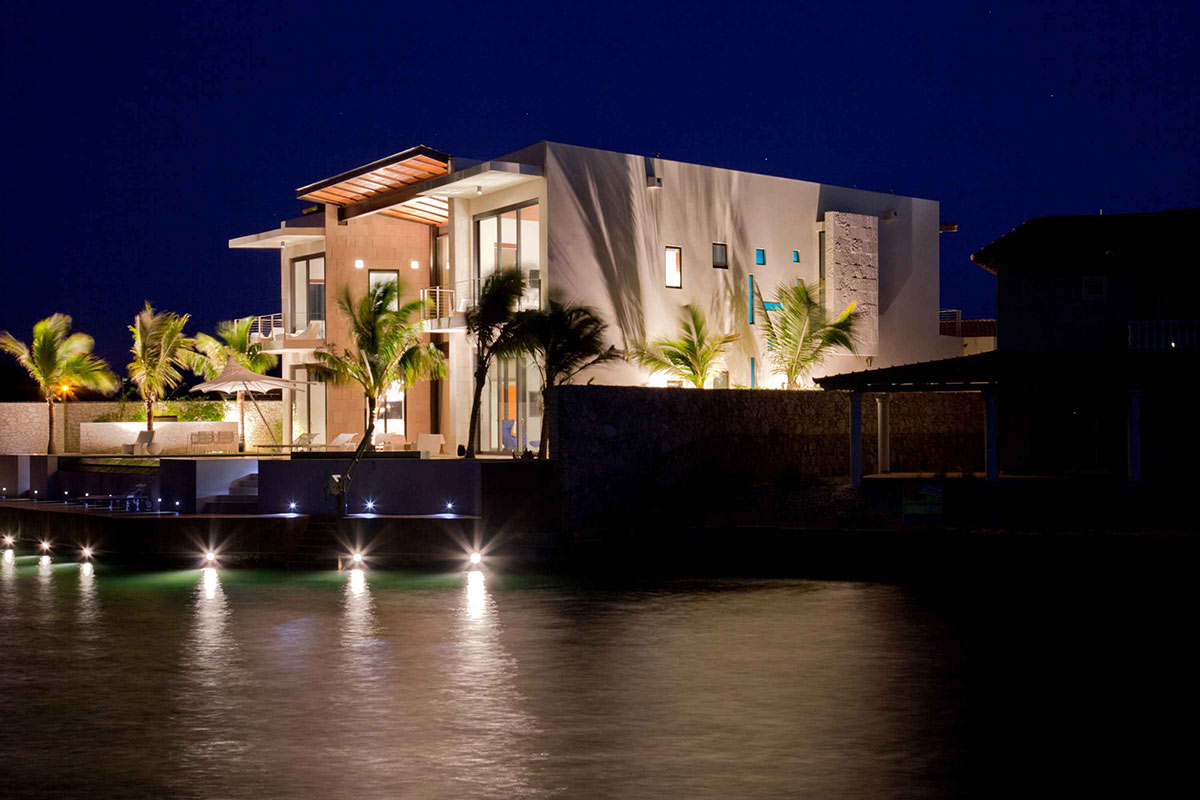 Evening, Water, Lights, Bonaire House, Netherlands Antilles