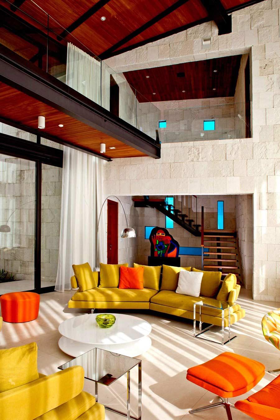 Orange Chair, Green Sofas, Bonaire House, Netherlands Antilles