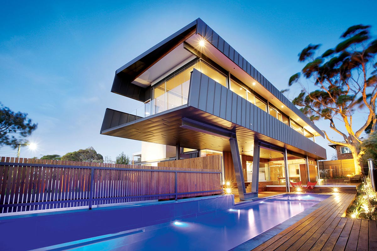 Cantilevered house in melbourne australia for Home architecture melbourne