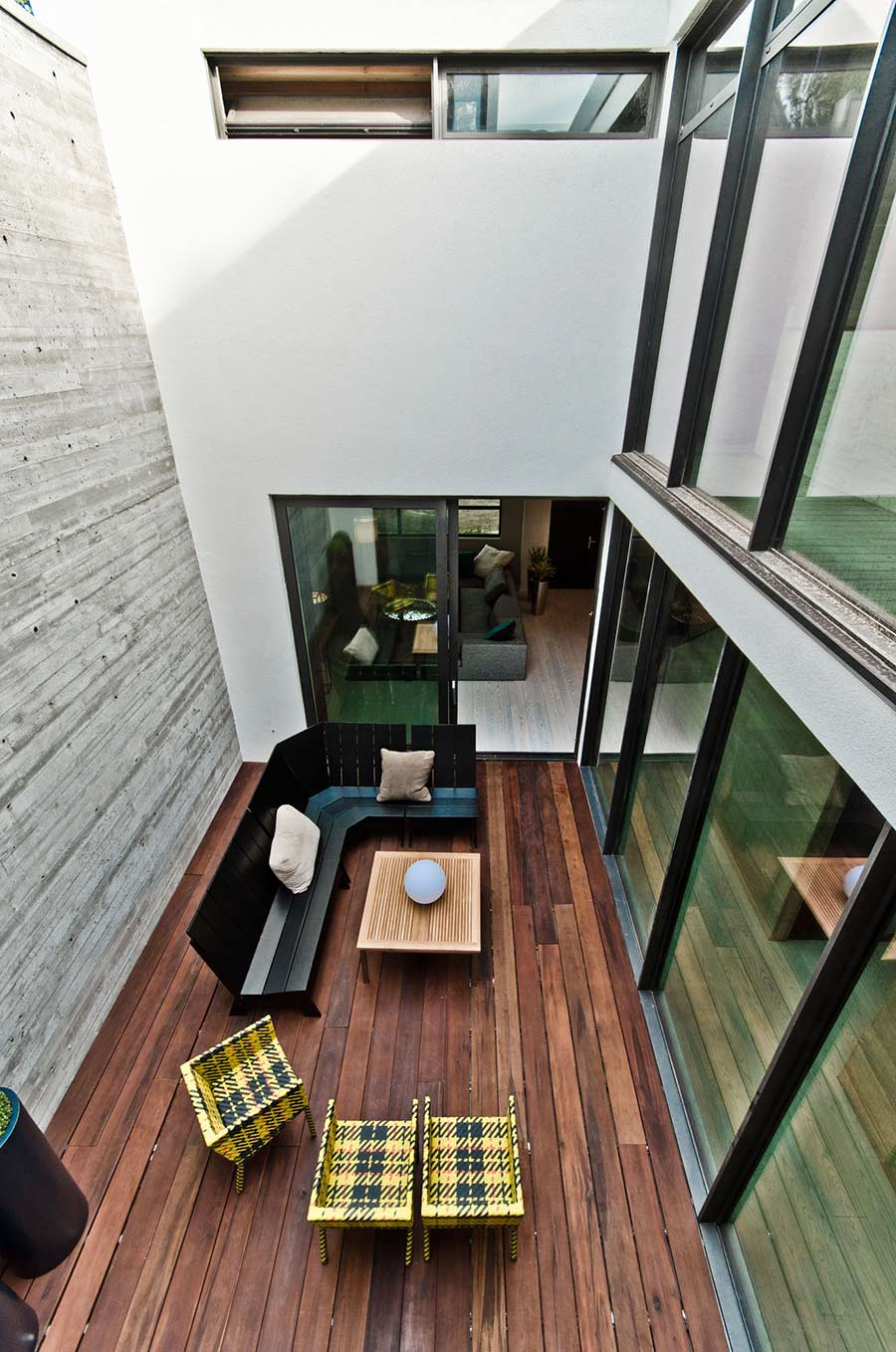 Courtyard, Black Bench, Patio Doors, Ecologia Montreal by Gervais Fortin
