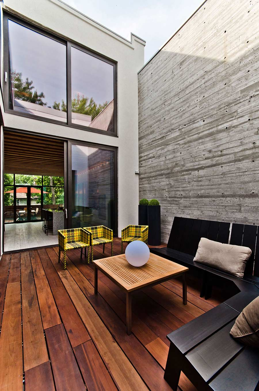 Courtyard, Wooden Floor, Concrete Wall, Ecologia Montreal by Gervais Fortin