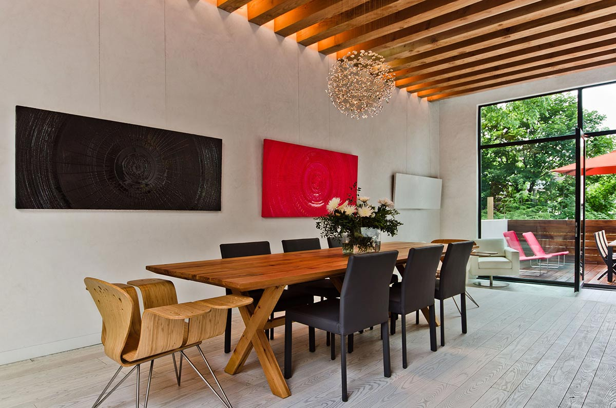 Dining Table, Hanging Light, Ecologia Montreal by Gervais Fortin