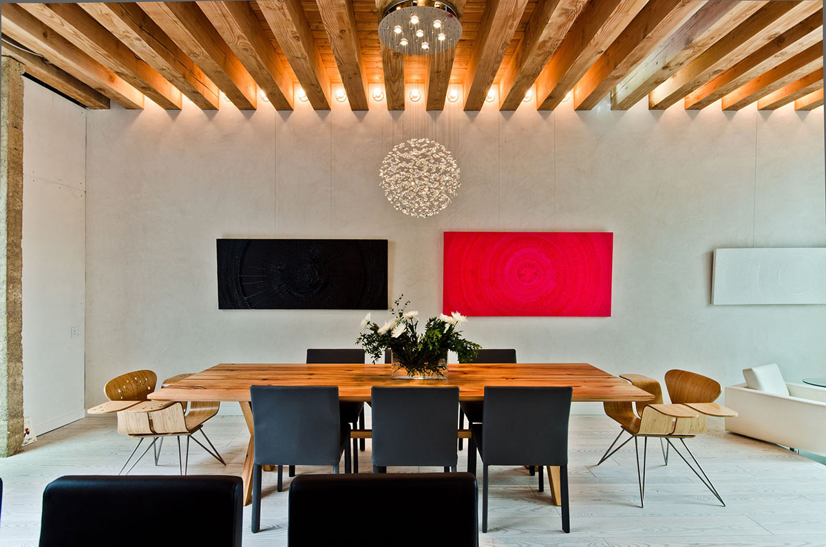 Wooden Dining Table, Black Seats, Ecologia Montreal by Gervais Fortin