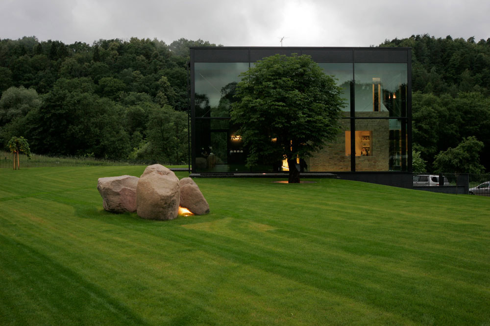 Garden, Boulders, Glass House, Vilnius, Lithuania
