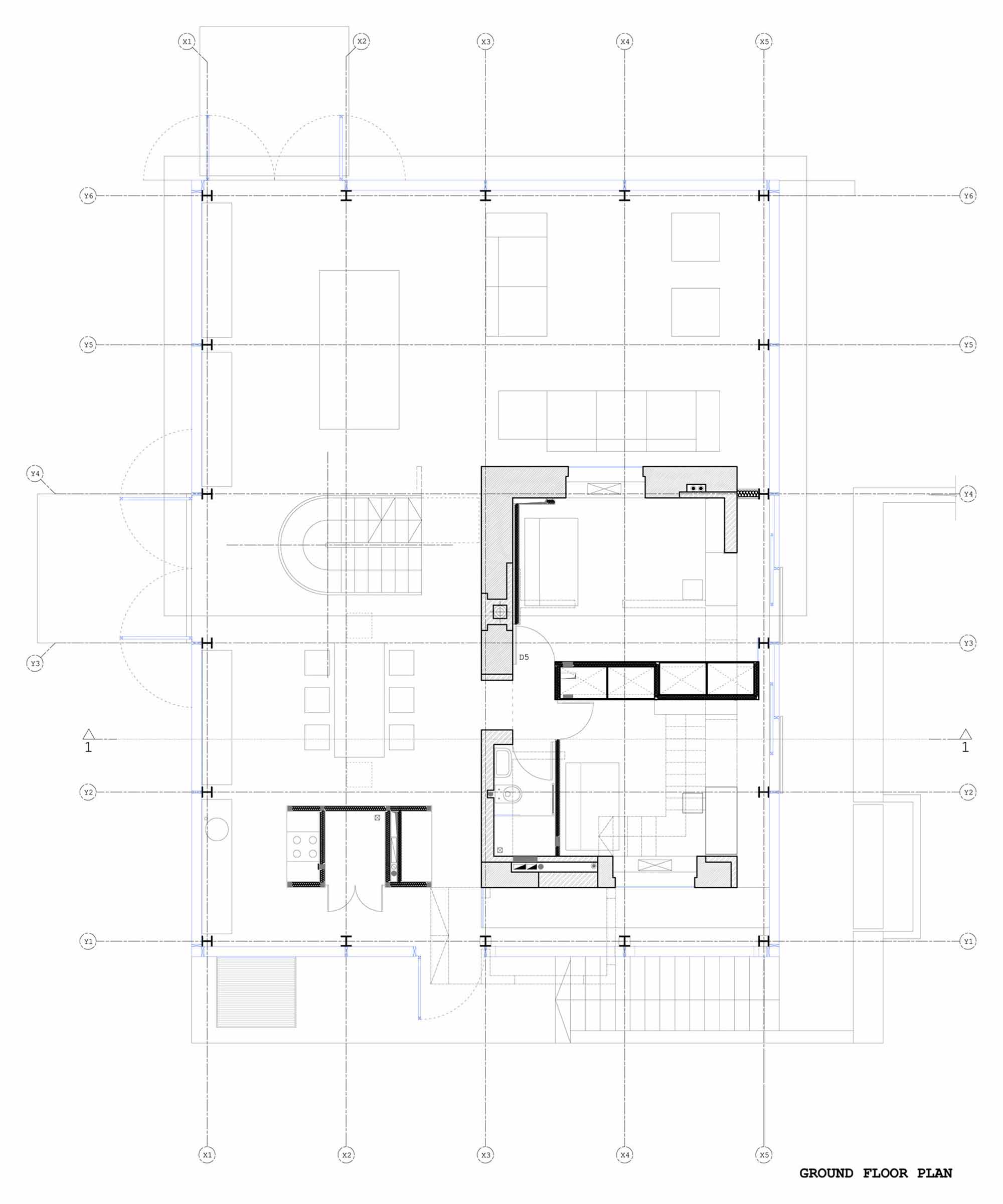 Ground Floor Plan, Glass House, Vilnius, Lithuania