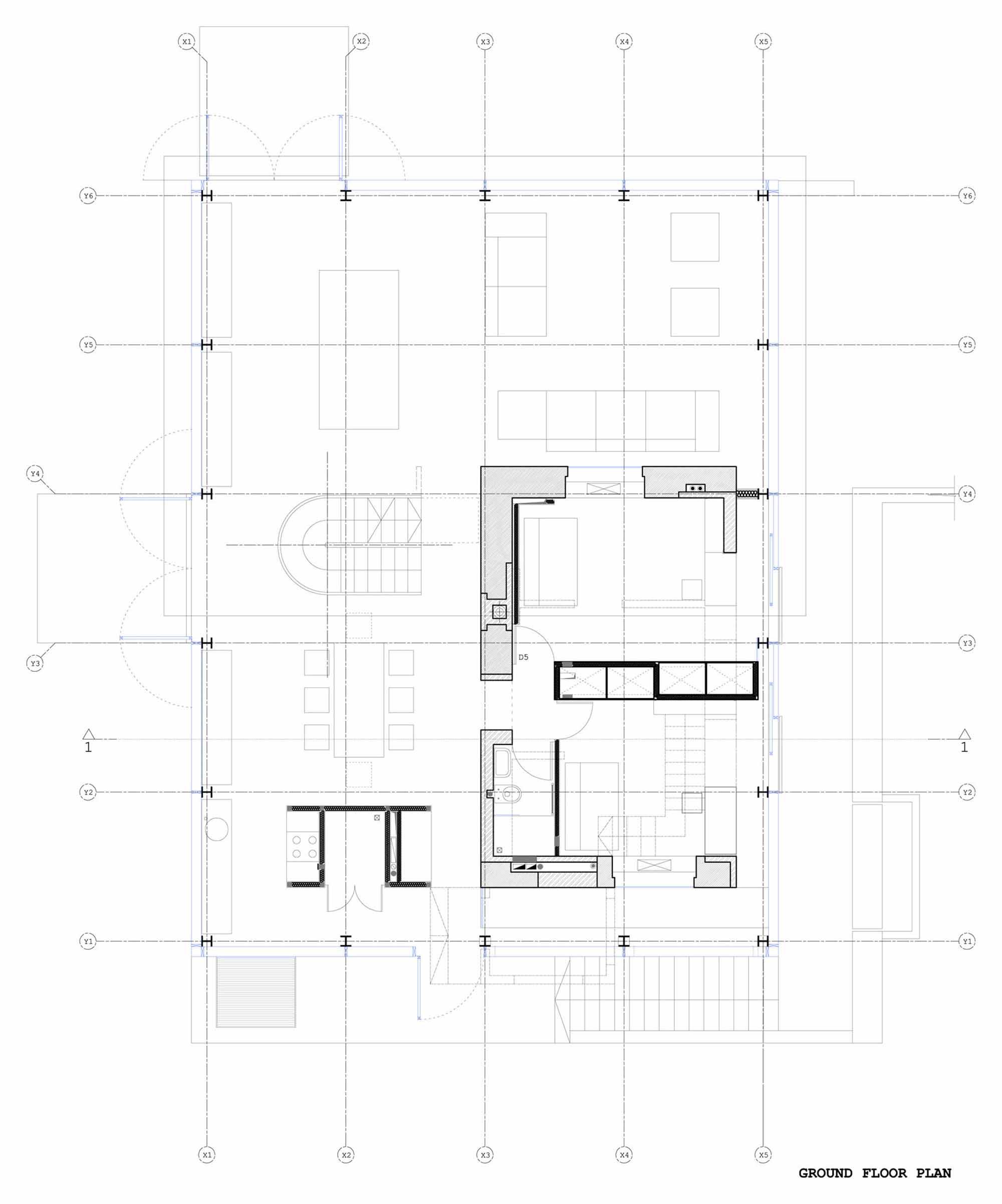 Ground Floor Plan, Glass House, Vilnius, Lithuania