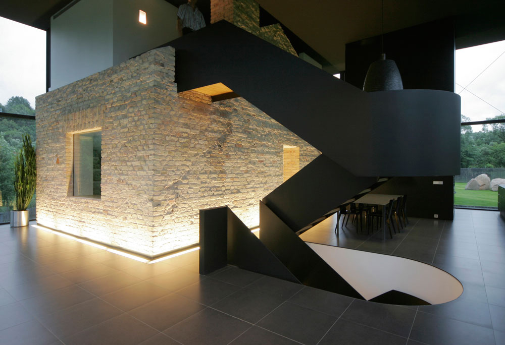 Stairs, Yellow Brick House, Glass House, Vilnius, Lithuania