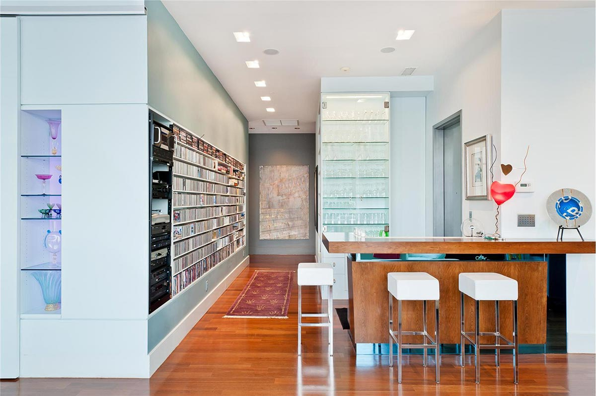 Bar, Music Room, Brooklyn Penthouse with Panoramic Views