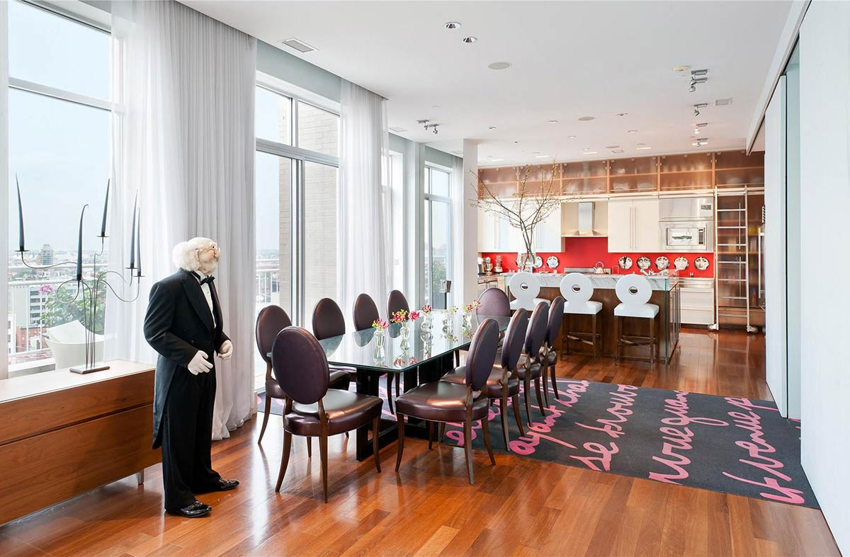 Dining room kitchen brooklyn penthouse with panoramic views for Kitchen n dining room