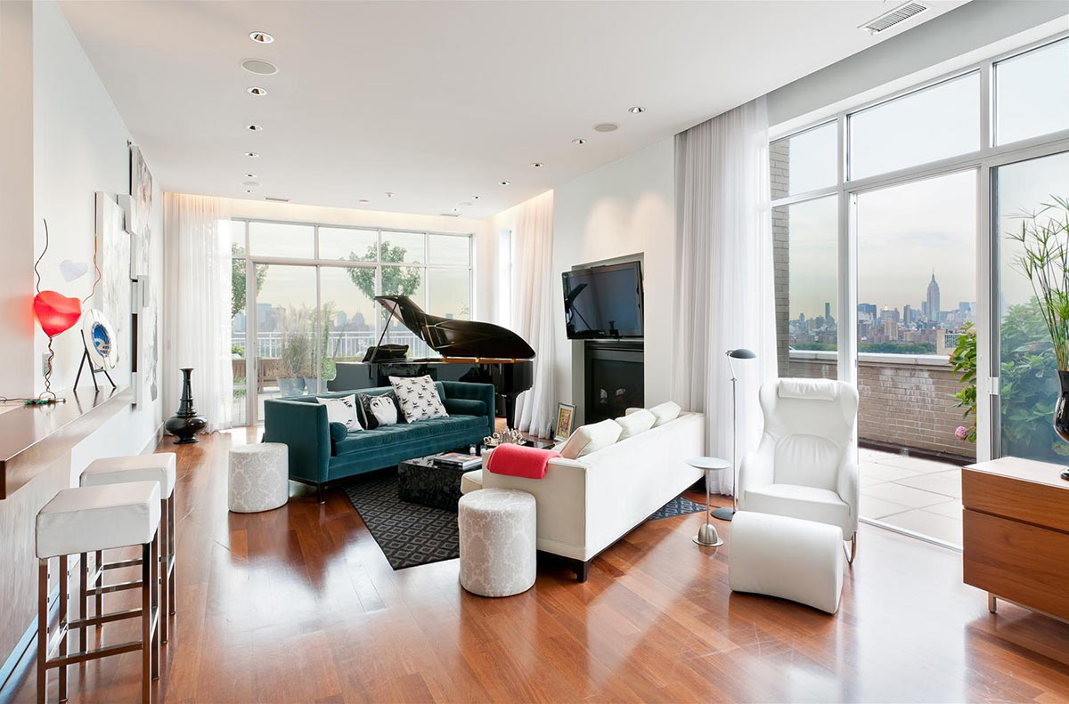 Living Room, Brooklyn Penthouse with Panoramic Views