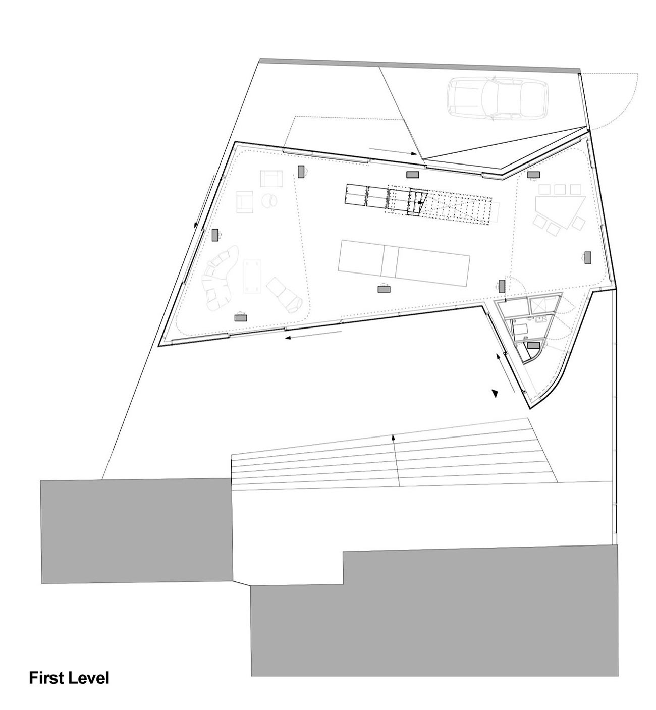 First Level Plan, H House, Netherlands by Wiel Arets Architects