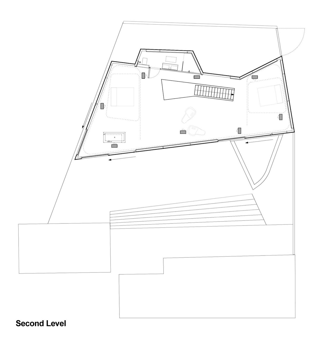 Second Level Plan, H House, Netherlands by Wiel Arets Architects