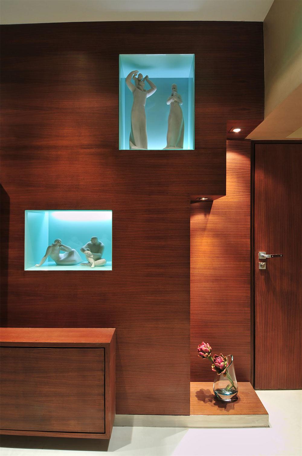 Recess Wall Art, Three Story Home, Mumbai, India by ZZ Architects