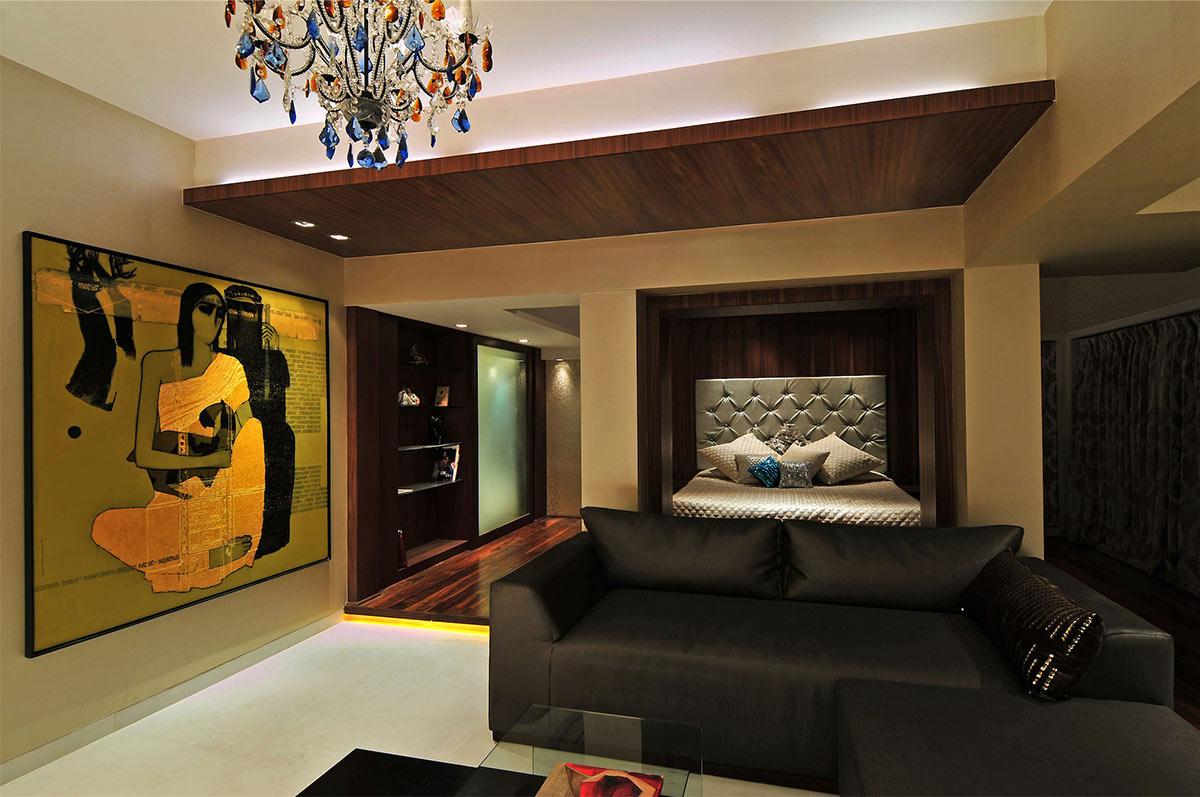 Bedroom, Three Story Home, Mumbai, India by ZZ Architects
