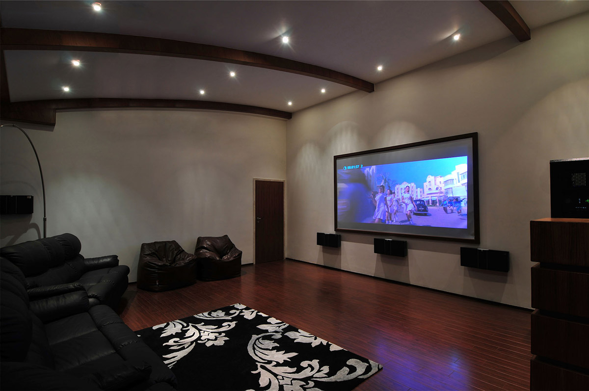 Cinema Room, Three Story Home, Mumbai, India by ZZ Architects