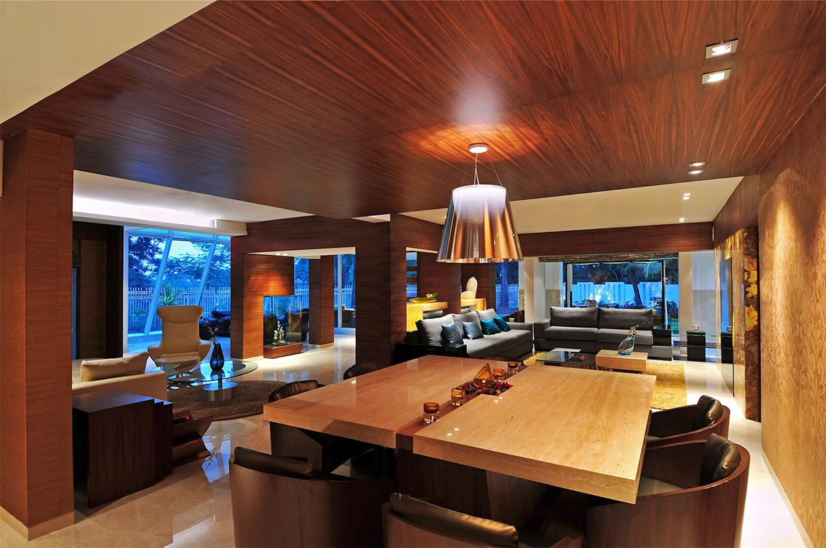 Dining Table, Open Plan Living, Three Story Home, Mumbai, India by ZZ Architects