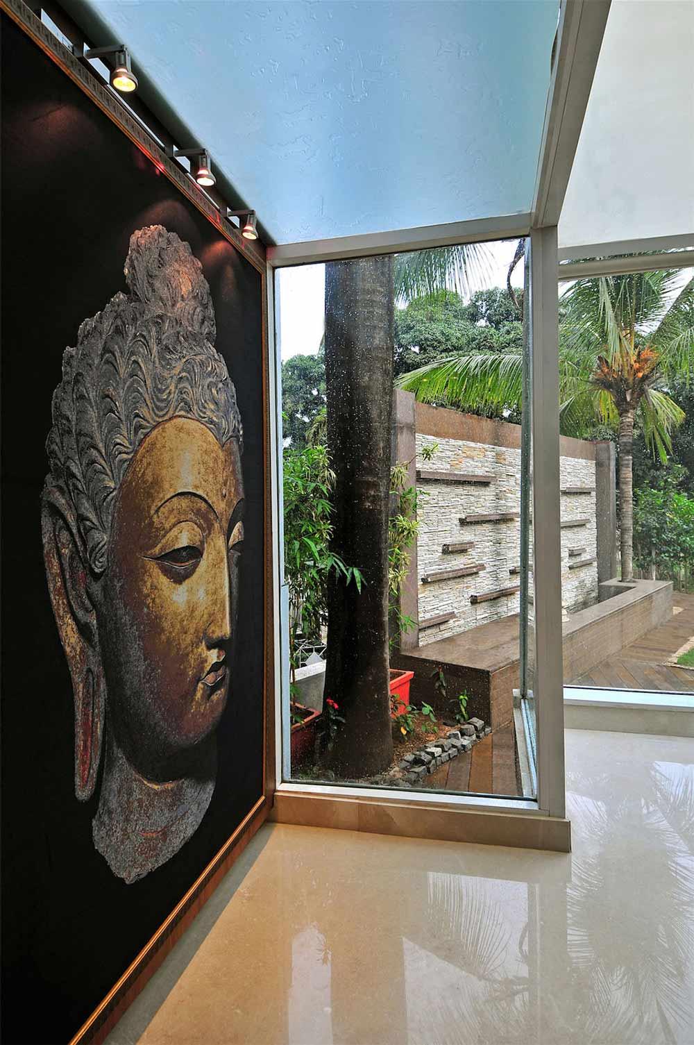 Glass Walls, Art, Three Story Home, Mumbai, India by ZZ Architects