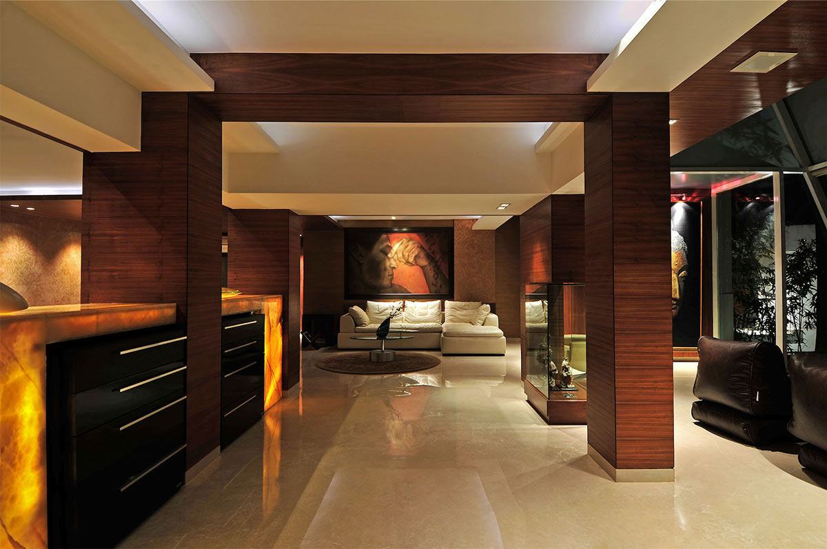 Living Space, Lighting, Three Story Home, Mumbai, India by ZZ Architects