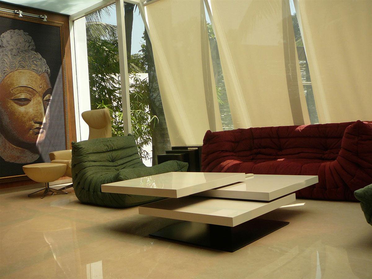 Seating, Contemporary Table, Three Story Home, Mumbai, India by ZZ Architects