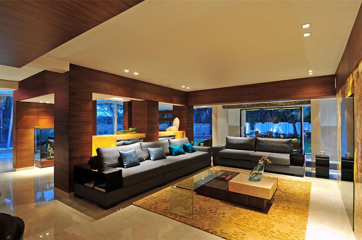 Grey Sofas, Living Space, Three Story Home, Mumbai, India by ZZ Architects