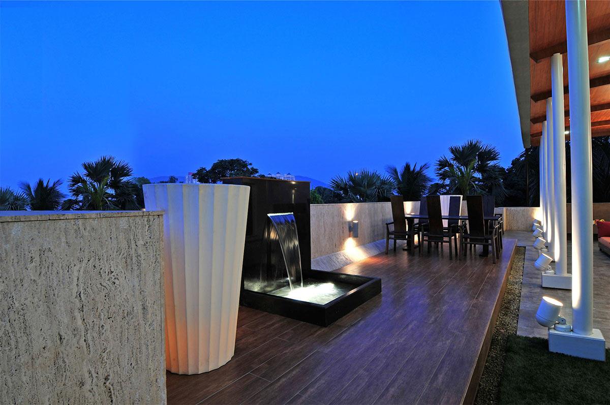 Waterfall Water Feature, Three Story Home, Mumbai, India by ZZ Architects