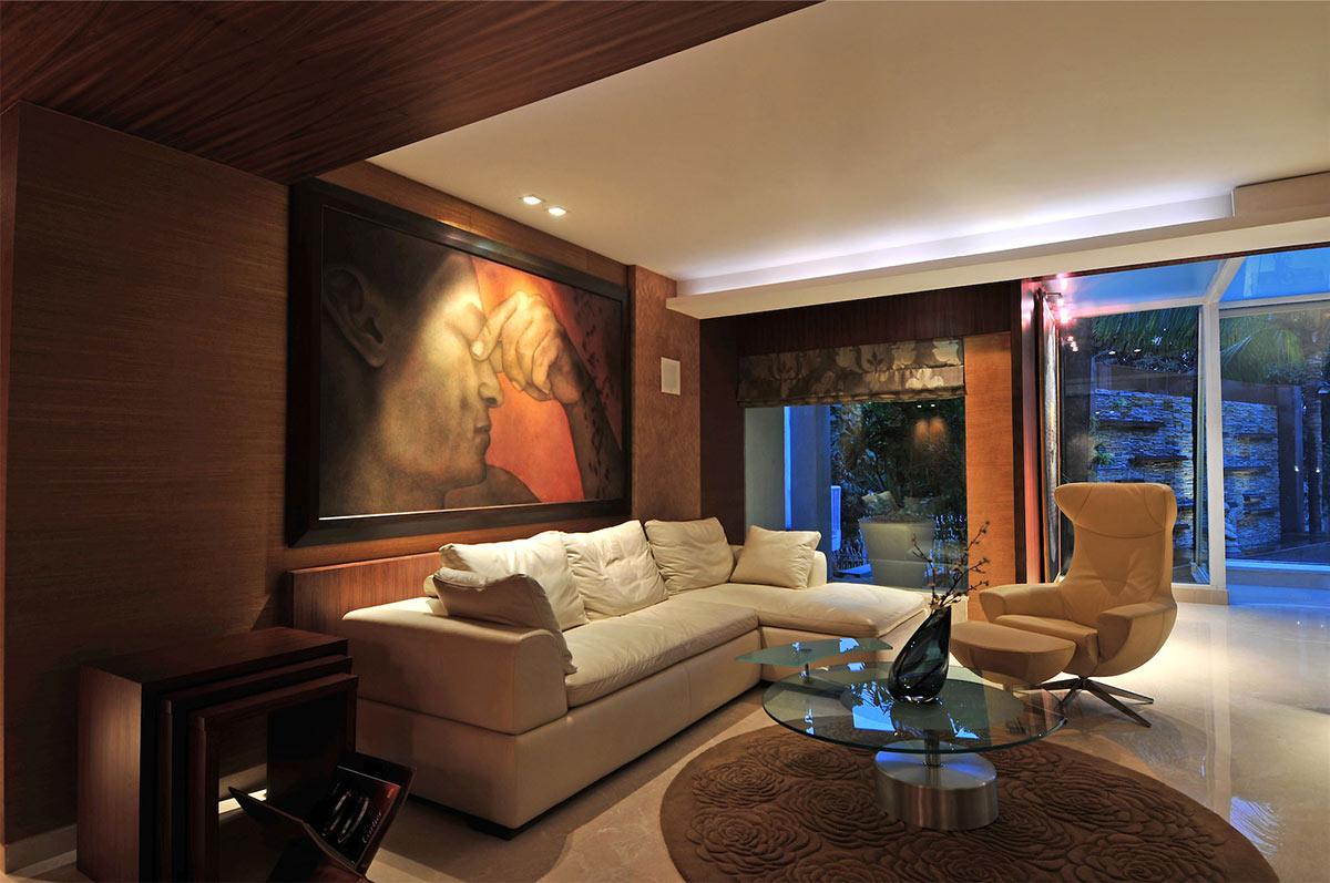 White Sofa, Living Space, Three Story Home, Mumbai, India by ZZ Architects