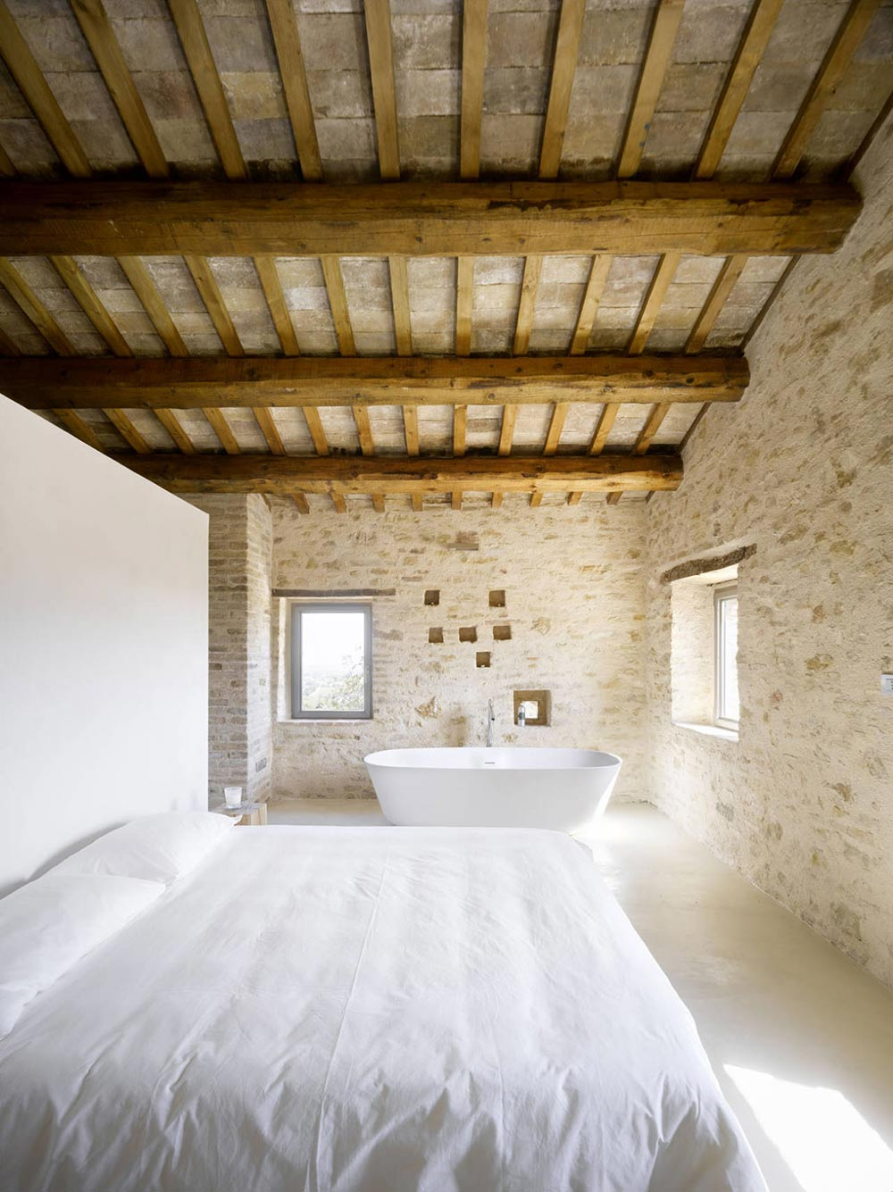 Bedroom, Bathroom, Home Renovation In Treia, Italy by Wespi de Meuron
