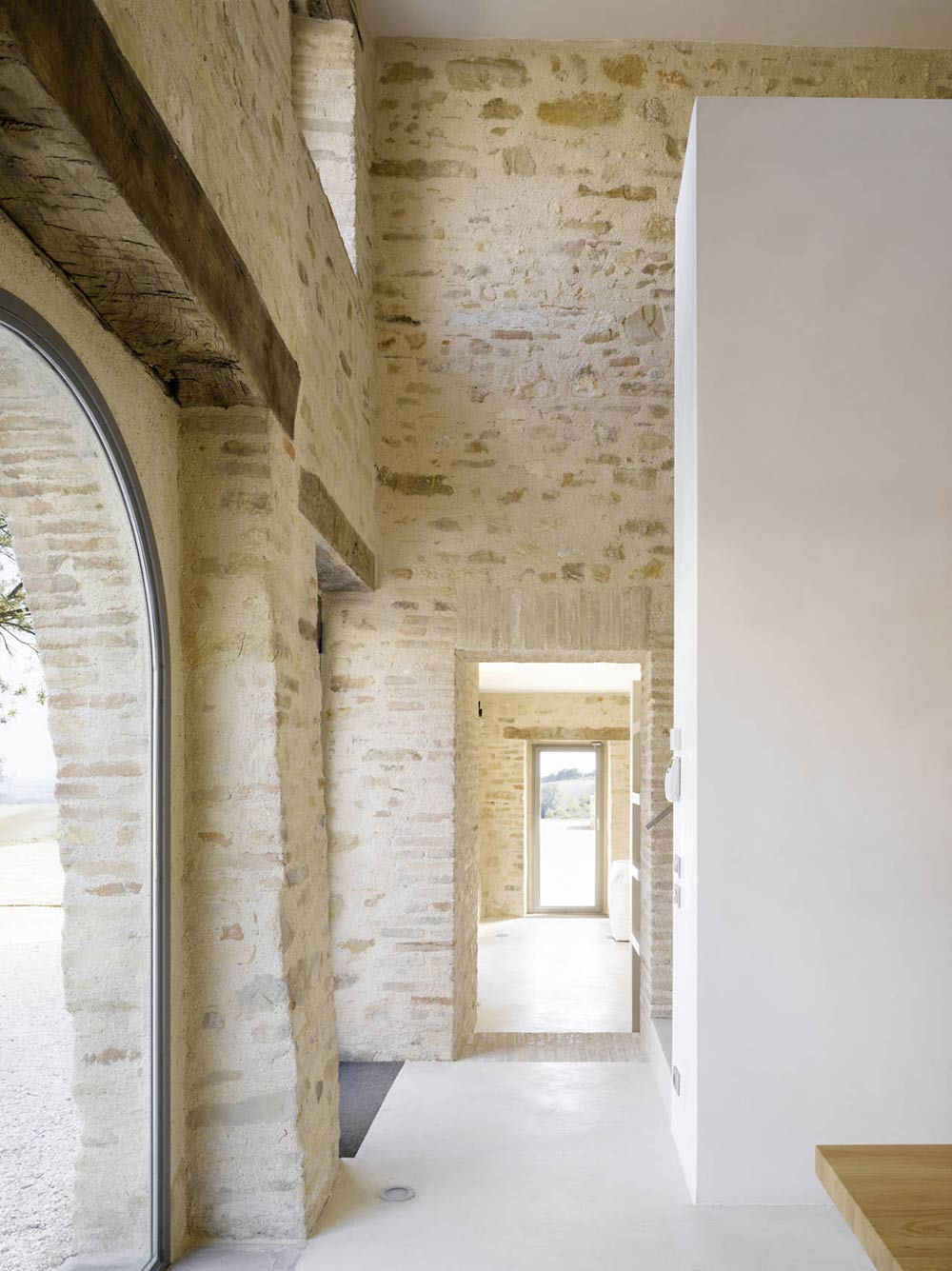 Hallway, Traditional Stone, Home Renovation In Treia, Italy by Wespi de Meuron
