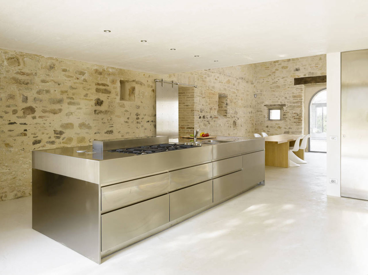 Kitchen Island with Cooker & Sink, Home Renovation In Treia, Italy by Wespi de Meuron