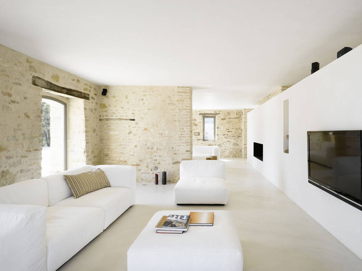 Living Room, Lounge, White Sofas, Home Renovation In Treia, Italy by Wespi de Meuron
