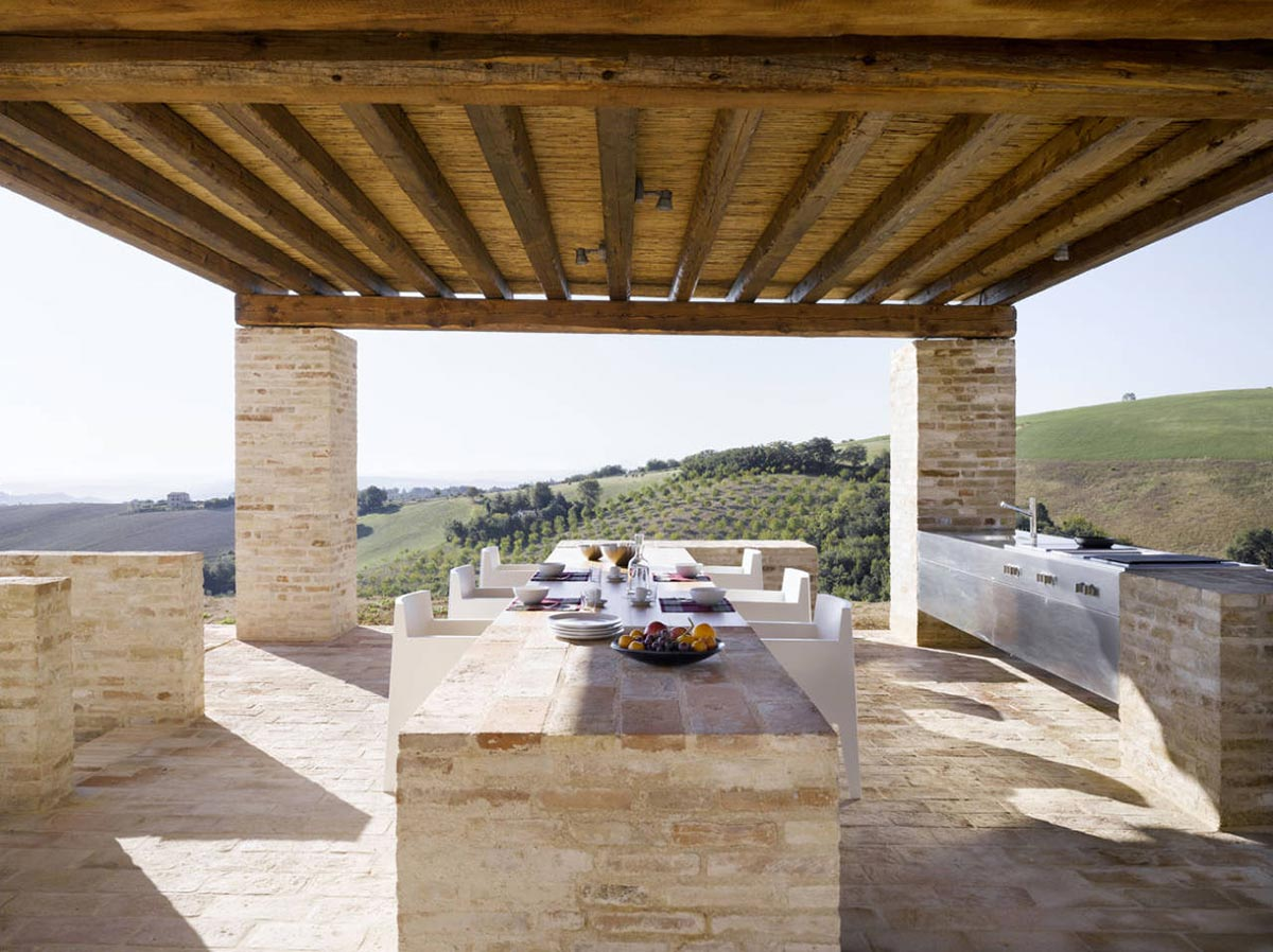 Outdoor Dining Kitchen, Home Renovation In Treia, Italy by Wespi de Meuron