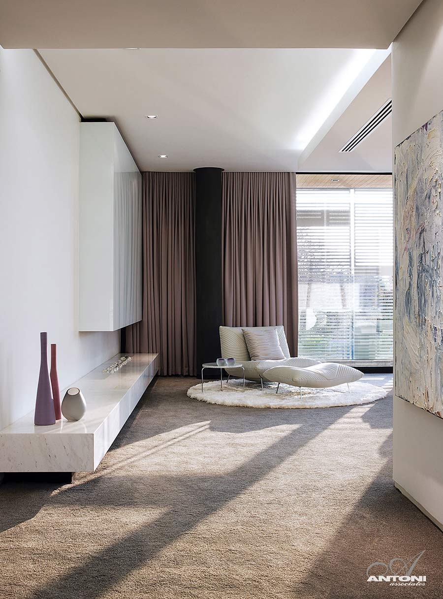 Bedroom, Contemporary Fireplace, Rug, Houghton Residence, Johannesburg, South Africa