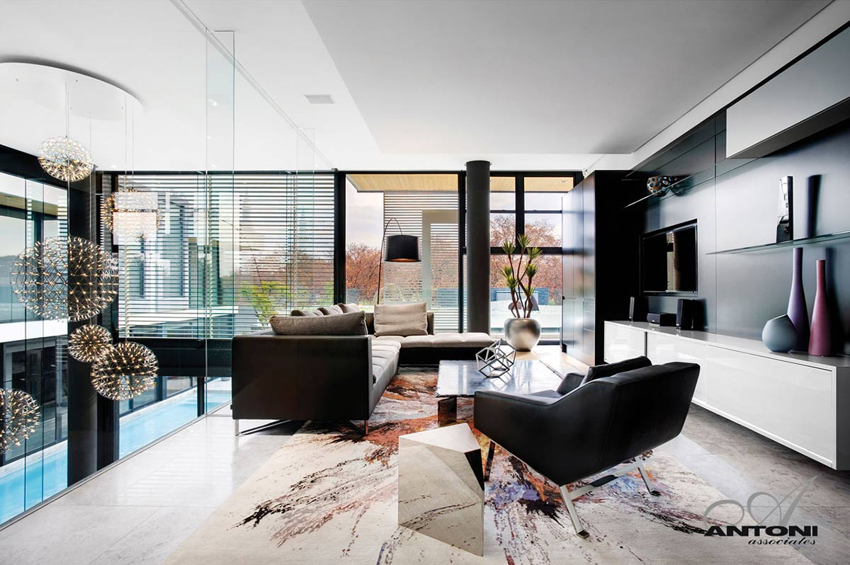 Living Space, Black & White Leather Sofas, Houghton Residence, Johannesburg, South Africa