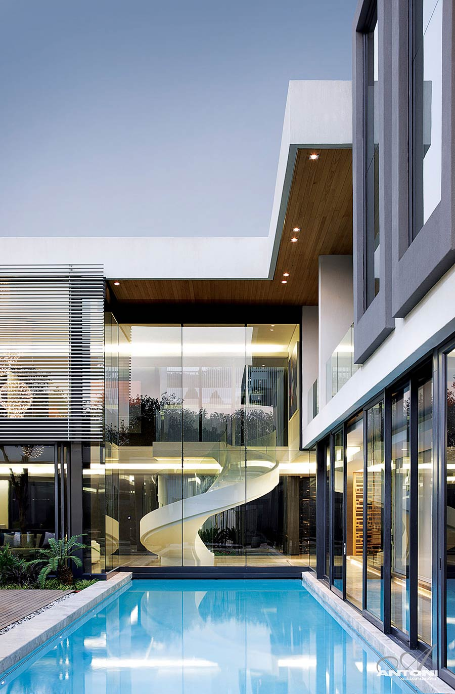 Pool, Glass Walls, Stairs, Houghton Residence, Johannesburg, South Africa