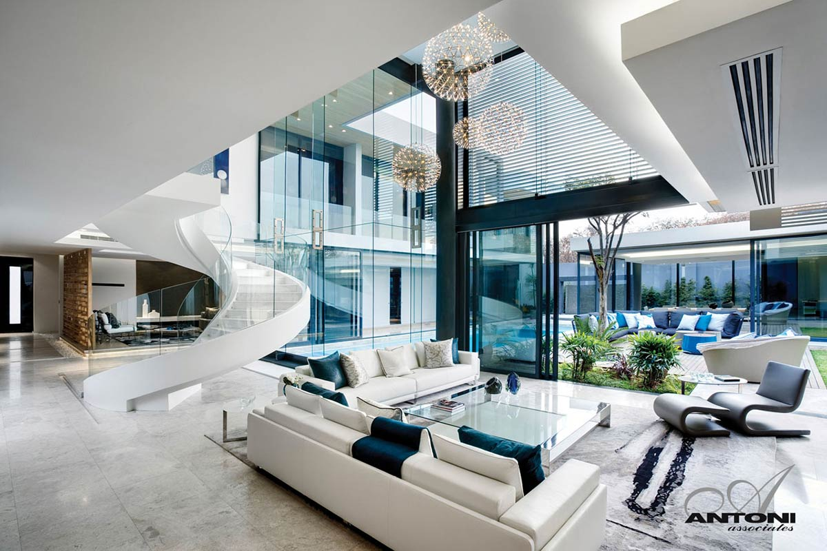 White Leather Sofas, Stairs, Living Space, Houghton Residence, Johannesburg, South Africa